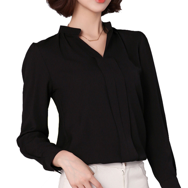 54fcc5fc1b5 US $10.19 13% OFF|OL Work Office Blouse Plus Size S 3XL Loose Shirts Casual  Chiffon V Neck Long sleeve V Neck Solid White Black Red Top Blusas 501-in  ...