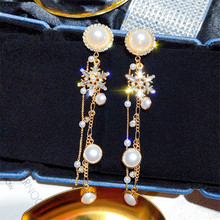 Korean Handmade Silver Needle Anti-allergy Snowflake Pearl Rhinestone Drop Dangle Earrings Fashion Jewelry-BYD5