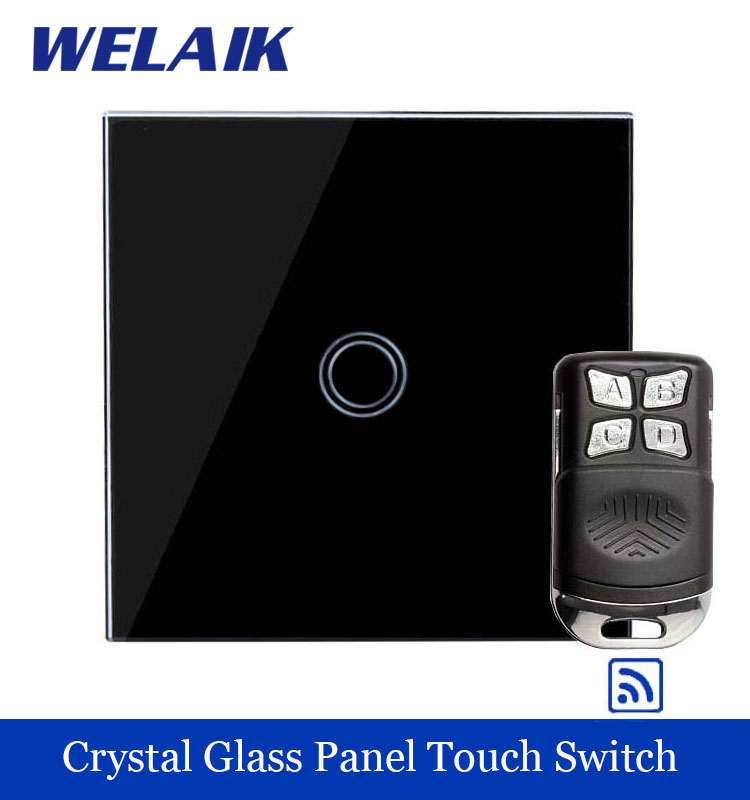 WELAIK Glass Panel Switch black Wall Switch EU remote control Touch Switch  Light Switch 1gang1way AC110~250V A1913XBR01 smart home us black 1 gang touch switch screen wireless remote control wall light touch switch control with crystal glass panel
