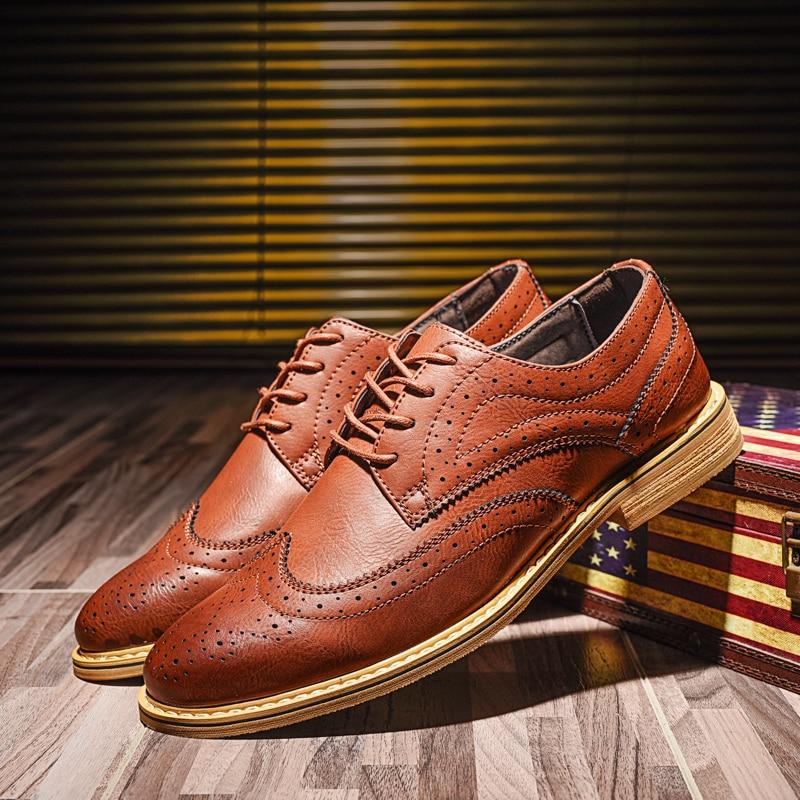 Calçado brown Masculinos Casual Flats Estilo Shoes Britânico Não Up Toe Homens Brogue Marrom Apontou Dos Black Moda Sapatos Lace Preto deslizamento qtTRwtg