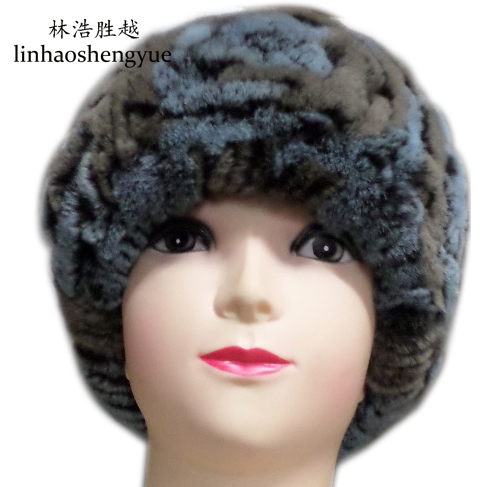 Linhaoshengyue Europe and the United States advanced knitting hat fur rabbit woman real fur freeshipping winter warm europe and the united states long sleeve hooded keep out the cold winter to keep warm and comfortable cotton coat