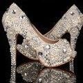 Exclusivo Do Marfim Pérola Rhinestone Do vestido de Casamento Sapatos Peep Toe de Salto Alto sapatos de Noiva Sapatos de Mulher Partido Prom Sapatos À Prova D' Água