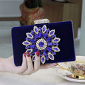 Red  Black Royal Blue Evening Bag Bridal Handbag Banquet Diamond Clutch Chain Shoulder Mini Bag Free Shipping