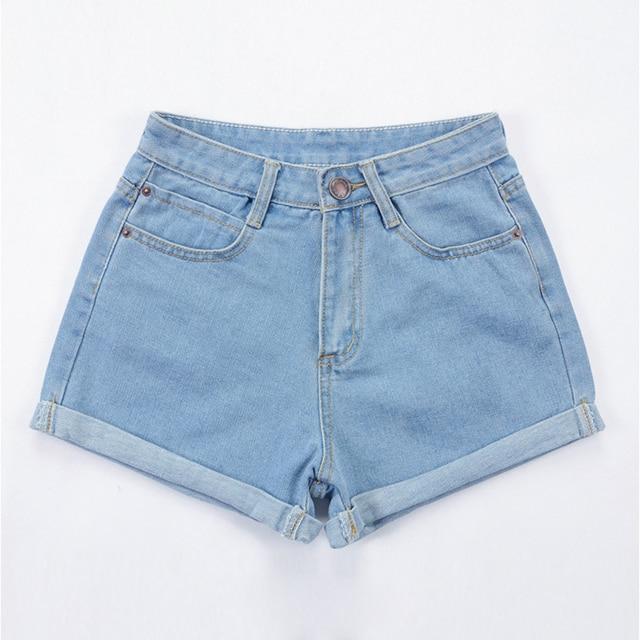 BONJEAN Europe Blue Crimping Denim Shorts For Women 2017 Summer New Brand Trendy Slim Casual Plus Size Womens High Waist Shorts