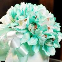 25 cm Ipek Yapay Orkide Gelin Çiçek Buketi Fikirleri Düğün Yıldönümü Dekor Evlilik Tedarikçisi Beyaz Mavi F5016
