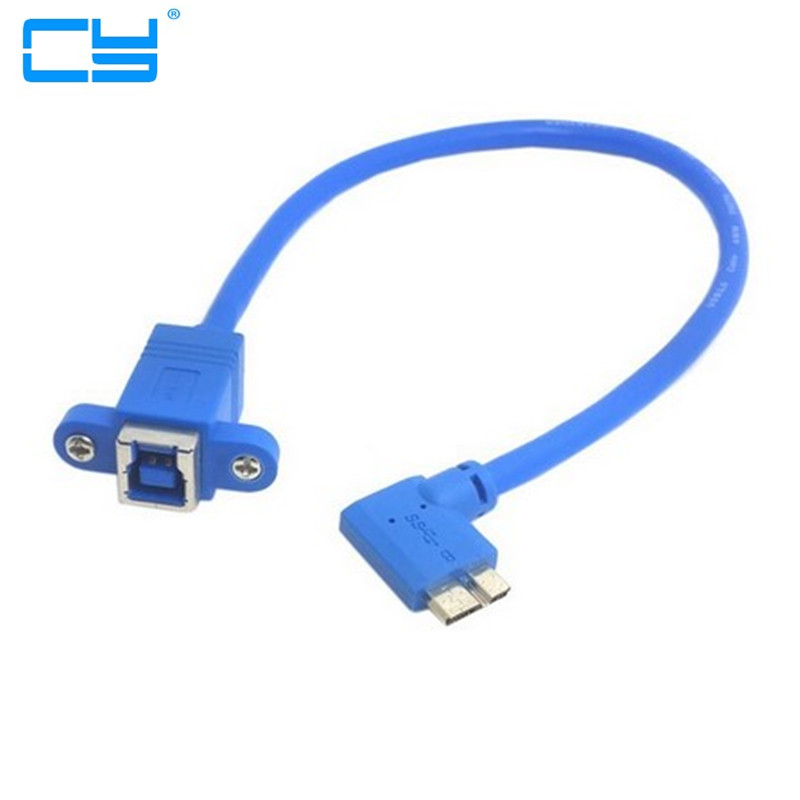 USB 3.0 Type B Female to Micro B Male 10pin 90 degree cable With Panel Mount Screw Holes 20cm usb 2 0 type b male to female m f extension data cable panel mount for printer cable with screw hole 30cm 1ft