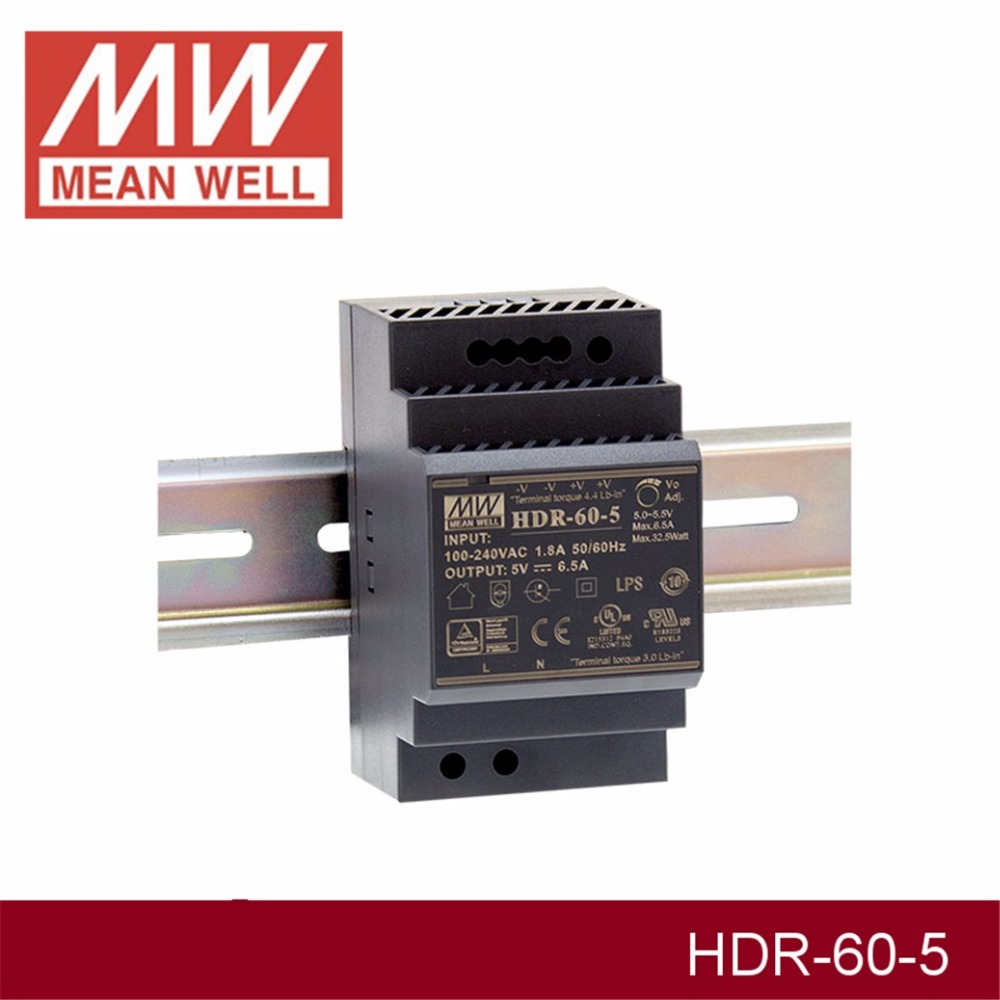 (12.12)MEAN WELL HDR-60-5 5V 6.5A meanwell HDR-60 32.5W Single Output Industrial DIN Rail Power Supply