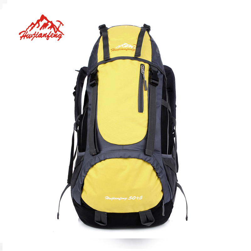 где купить HUWAIJIANFENG 55L Outdoor Water Resistant Sport Backpack Hiking Bag Camping Travel Pack Mountaineer Climbing Hike sports bag по лучшей цене