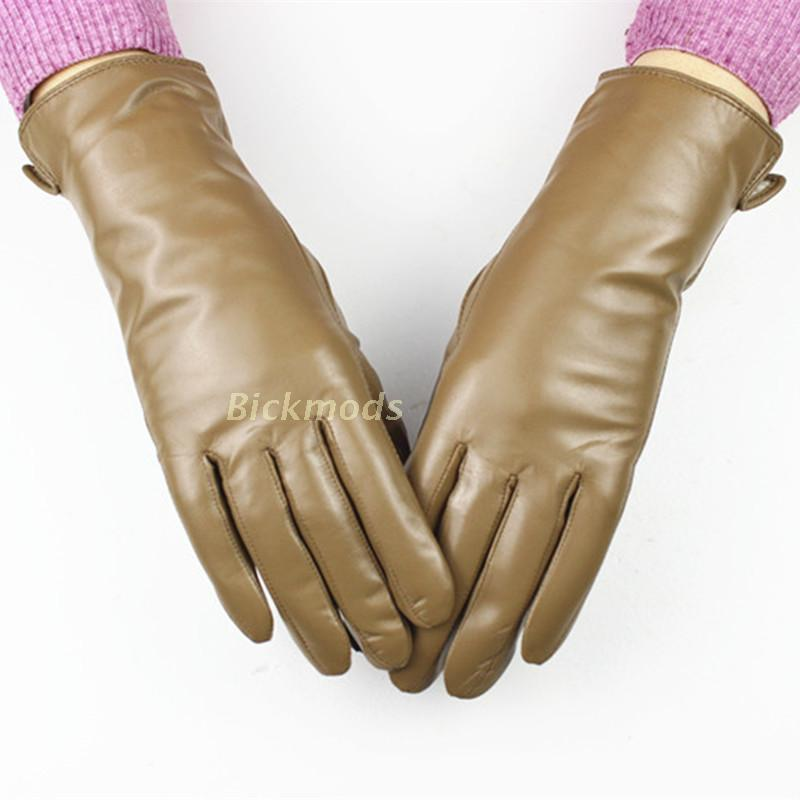 Female Leather Gloves A Variety Of Colors Sheepskin Gloves Straight Style Wool Lining Spring And Autumn Warm Gloves