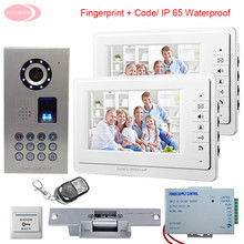 7inch LCD IP65 Waterproof Fingerprint Video Door Phone Intercom System With 1 Camera + 2 Monitors Door Bell+ Electronic lock Kit