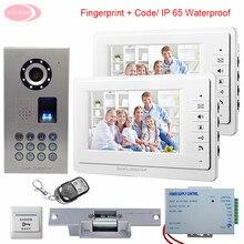 7inch LCD IP65 Waterproof Fingerprint Video Door Phone Intercom System With 1 Camera + 2 Monitors Door Bell+ Electronic lock Kit