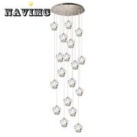 Luxury Modern Chandelier Lamp Large Staircase LED Crystal Lighting Fixtures Polished Steel Hanging Lustre De Cristal
