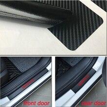 4pcs Car Carbon Fiber Vinyl Sticker Door Sill Protector Wear Plate for Chevrolet Impala Accessories