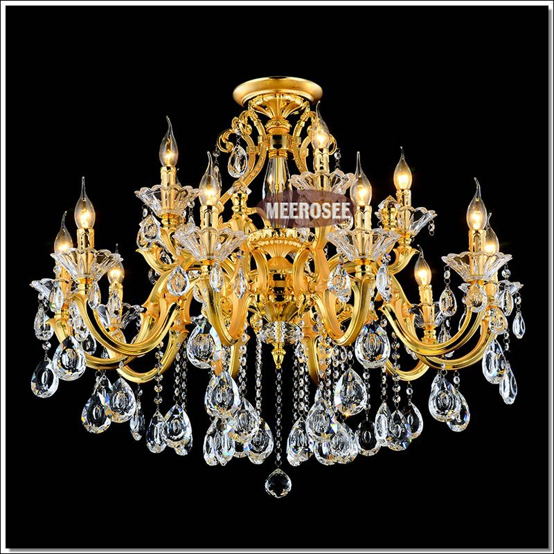 Luxurious Golden Chandelier Lighting Lustre Crystal Hanging Lamp Vintage lampadari Fitting Suspension Light with 100% k9 Crystal