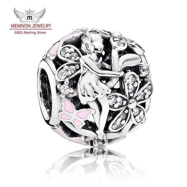 Nueva Colección Primavera Deslumbrante 925-Sterling-Silver Margarita Hadas con encantos Del Esmalte del encanto cupieron la pulsera DIY fina JewelryMN844