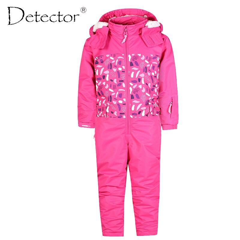 Detector Girl Ski Suit Waterproof Windproof Ski snowboard Bid Warm Thermal Kid Hooded One-piece Little Children Clothing полукомбинезон columbia widgeon bid хаки камыш
