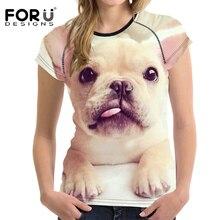 FORUDESIGNS 2017 Summer Women T-shirt 3D Bulldog Animal Woman Tops Tshirts Elastic Breath Female Shirt Short Sleeve Tees Clothes