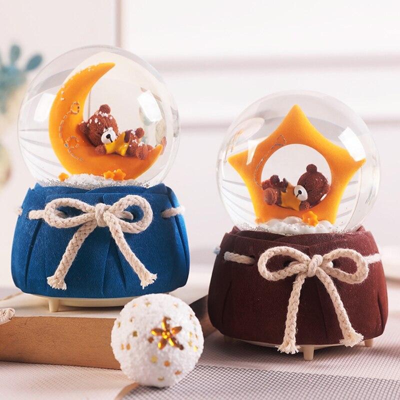 Star Bear Crystal Ball Decoration Cute Music Box Girl children Gift Music Box Snowflake Shiny Christmas Gift mx12101434