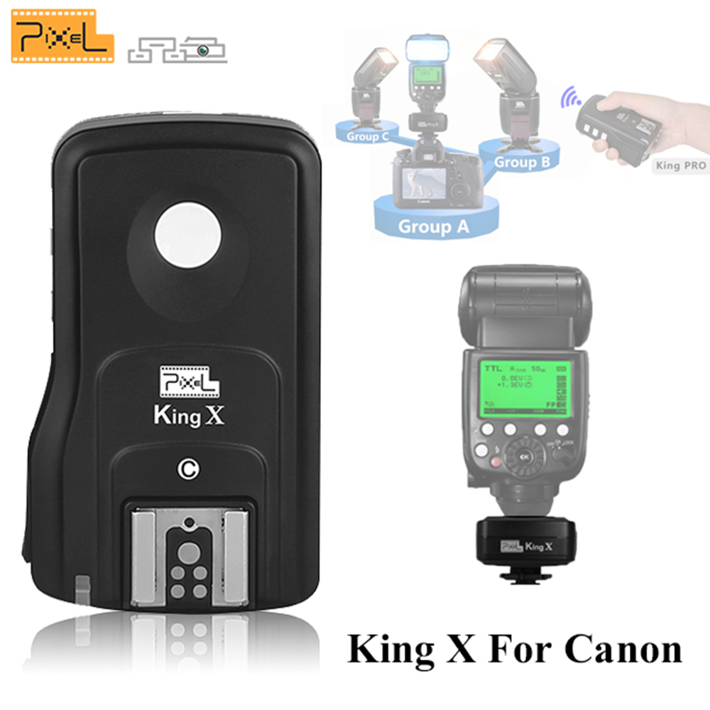 Pixel King X Receive E TTL Wireless Flash Trigger High Sync Speeds 1/8000S King Pro for Canon 450D 500D 550D 600D 40D 50D 60D