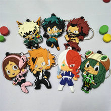 My Hero Academia Figures Toys PVC Keychain Anime Cartoon Key Bag Pendants Figuras Dolls 6-8cm 10pcs(China)