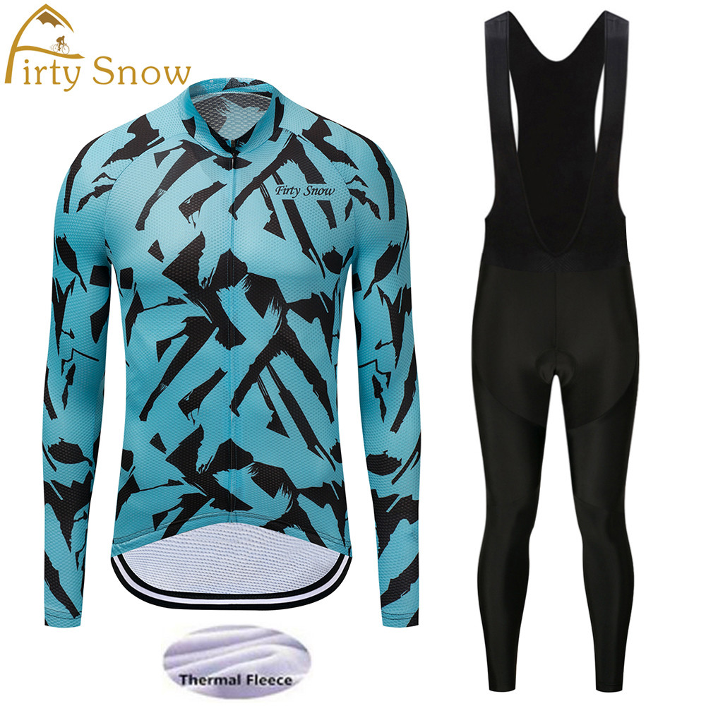 winter thermal fleece cycling set men cycling clothing set pro teams long sleeve cycling jersey and bib shorts set mtb bike wear flutter sleeve twist front top and wide waist shorts set