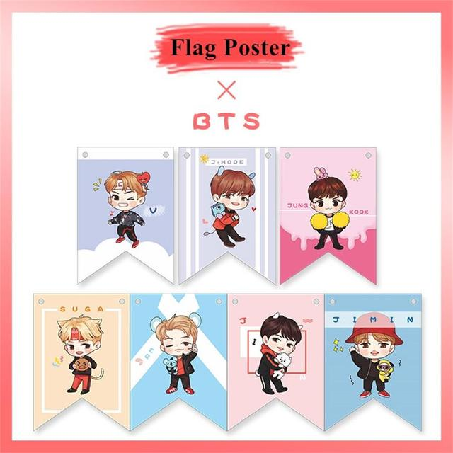 kpop bts cartton paper flag poster jungkook jimin v cute hang up photo picture home decoration