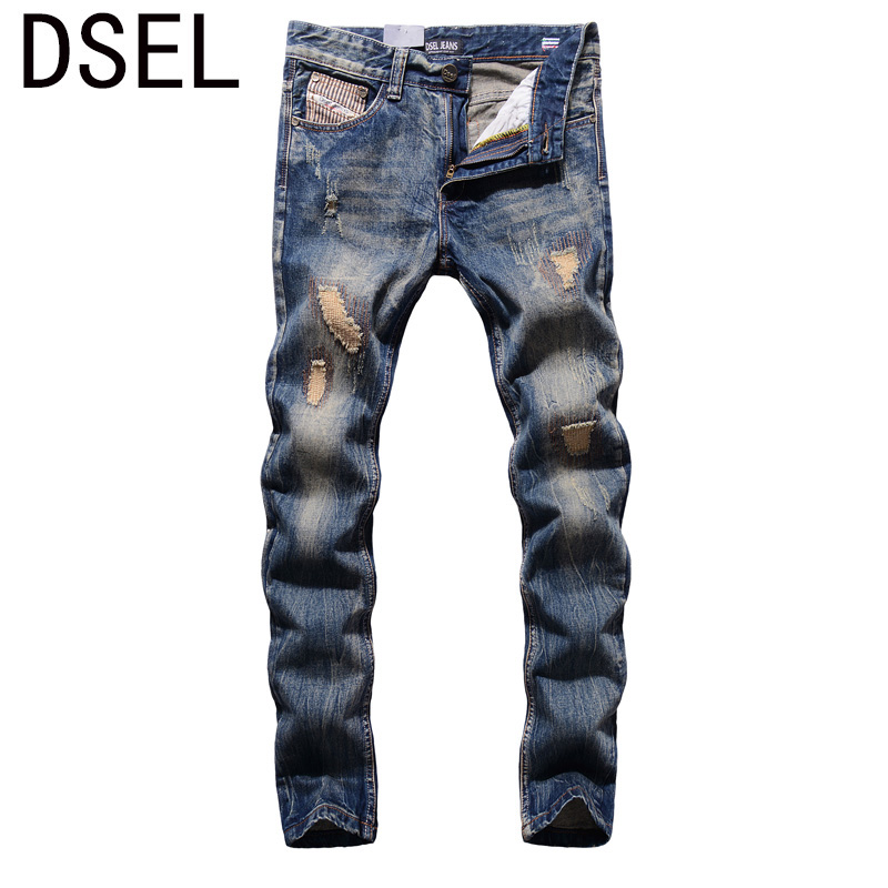2017 High Quality Fashion Men Jeans Dsel Brand Ripped Jeans For Men Patchwork Pants Straight Slim