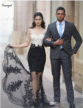 White and Black Transparent Evening Dress Long Sleeve Appliques Lace Mermaid Floor Length Party Gowns Custom