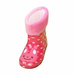 Детские резиновые сапоги; сезон весна-осень-зима; обувь для мальчиков и девочек; детские резиновые сапоги на плоской подошве с изображением ...