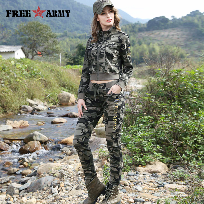FREEARMY Brand Kvinner Sett Camouflage 2 Piece Sweat Suit Set Bukser + Short Jacket Slim Dameklær Female Tracksuit Set