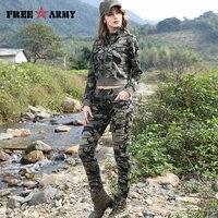 FREEARMY Marca Conjuntos de Camuflagem 2 Peça das Mulheres Suor Terno Conjunto de Roupas Calça + Jaqueta Curta Magros das Mulheres do Sexo Feminino treino Conjunto Terno