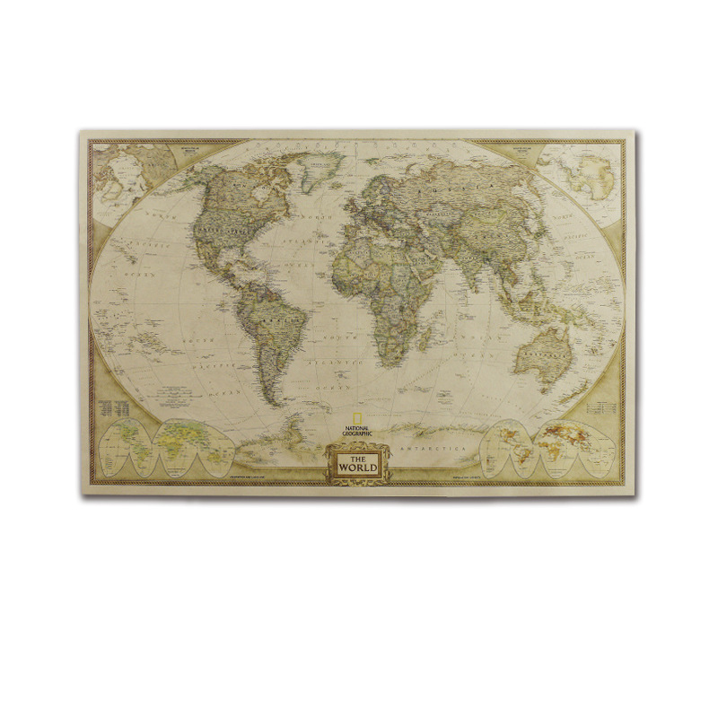 Vintage World Map Home Decoration Poster Wall Chart Retro Kraft Paper Christmas Party Decor
