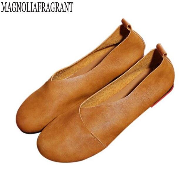2018 handmade Da Arte Do Vintage sapatos Flats de Couro de Microfibra Mulheres Sapatos boca Rasa Mulheres Sapatos Da Moda Sapatos Casuais Plus Size 41-43 f8