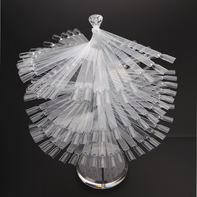 120Pcs Color Clear False Nail Art Tisp Stick Polish Display Fan Practice Card Stand Set