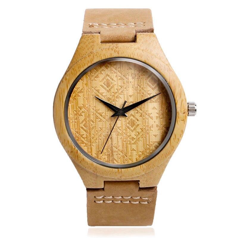 цены  Top Quality Quartz Bamboo Sport Wrist Watch Genuine Leather Band Strap Nature Wood Modern Creative Gift Men Women Bracelet Watch