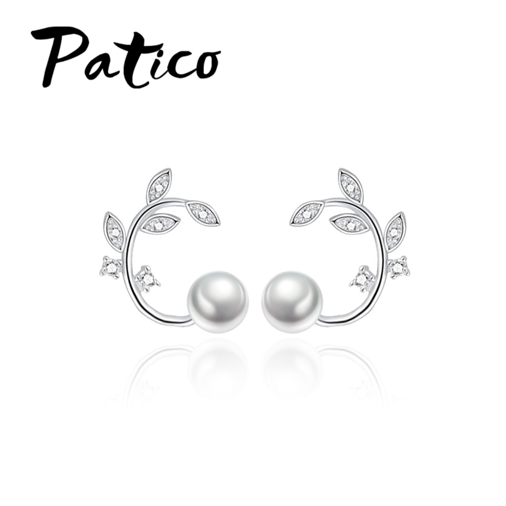 PATICO New Fashion Branch Stud Earrings Great Cubic Zirconia Crystal 925 Sterling Silver Lovely Jewelry Accessory Wholesale