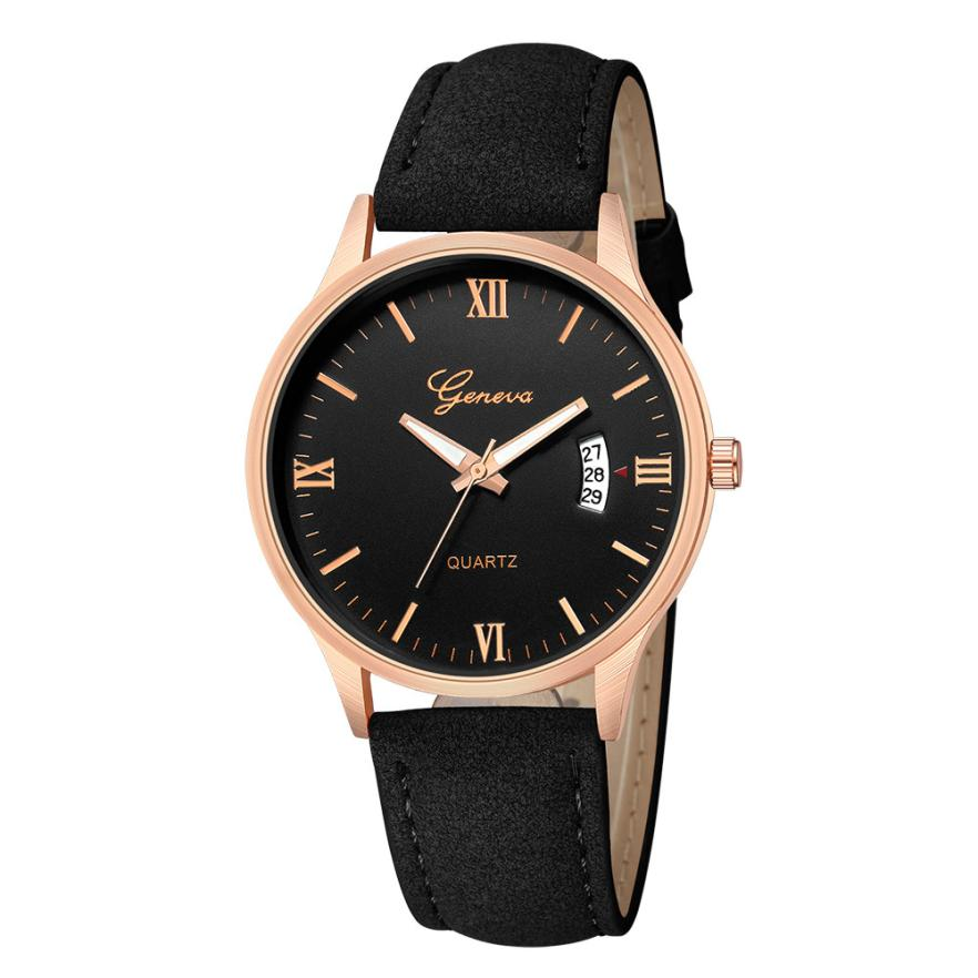 Women's Watches Fashion Roman Numerals Women Leather Strap Luxury Analog Quartz Female AUTO Date Wrist Watch Relogio Feminino A2