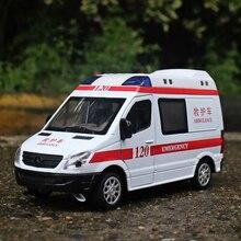 MZ 1:32 сплава модели автомобиля скорой помощи моделирования металлических материалов для автомобилей звук и свет обратно к детские игрушки
