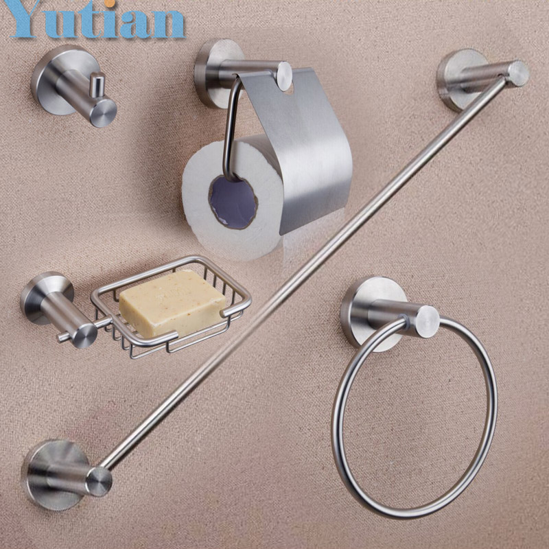 Free shipping,Round 304# stainless steel Bathroom Accessories Set,Robe hook,Paper Holder,Towel Bar,5 pcs/set YT-10300-5N  free shipping solid brass bathroom accessories set robe hook paper holder towel bar bathroom sets antique brass finish yt 12200