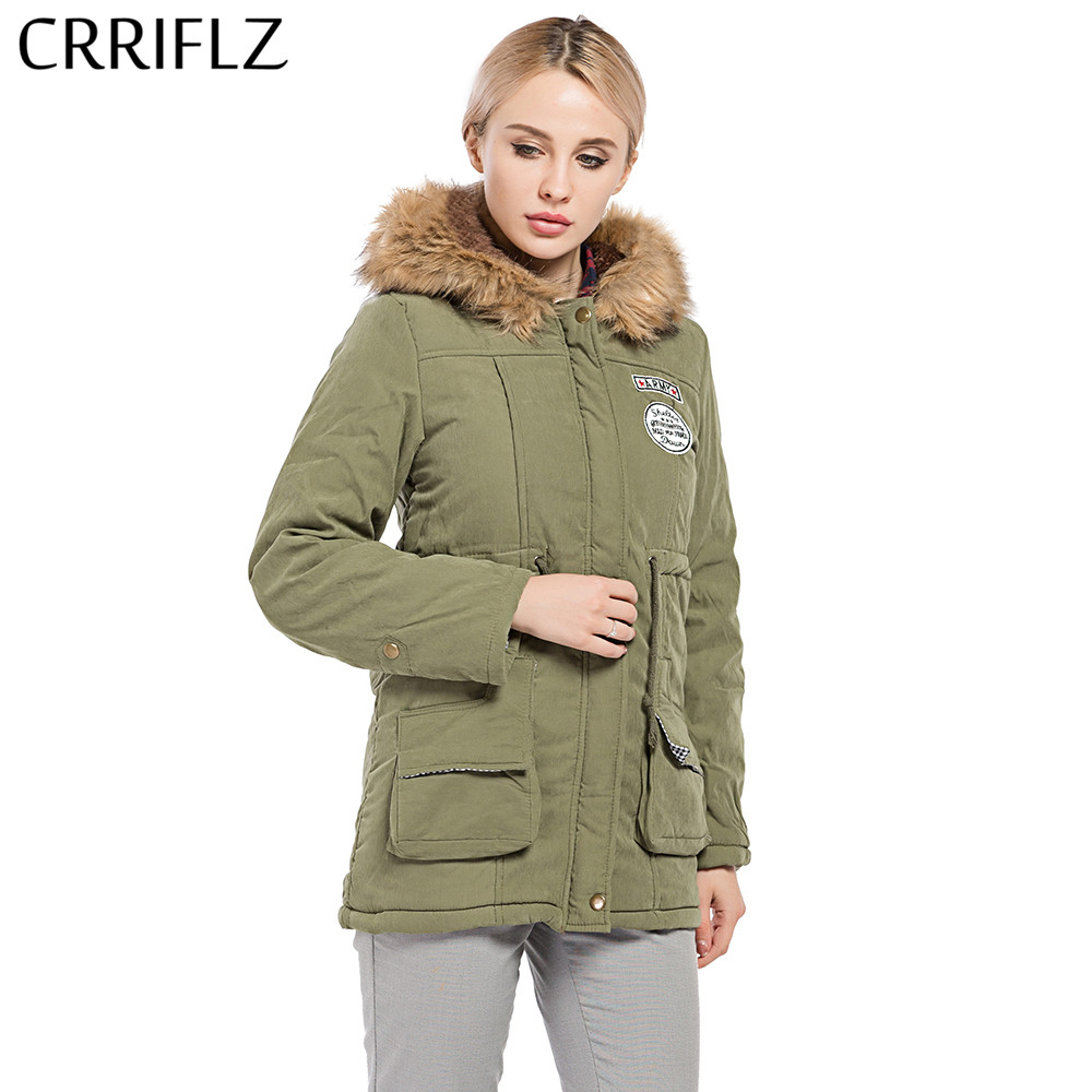 Autumn Winter Warm Jackets Women Fur Collar Coats Long Parkas Hoodies Cotton CRRIFLZ