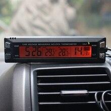 3 в 1 Автомобильный Цифровой Авто Термометр Вольтметр Часы Вольт Монитор Температуры 12 В 24 В Крытый ЖК-Оранжевый/голубой Подсветкой