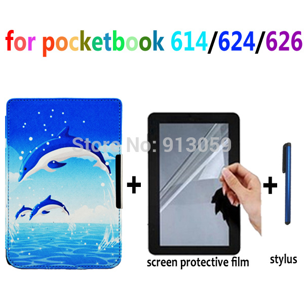 dolphin and sunflower case for Pocketbook basic touch lux 614/624/626 leather cover case +screen protector+stylus