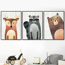 Raccoon Bear Fox Nursery  Wall Art Canvas Painting Cartoon Nordic Posters And Prints Wall Pictures Boy Girl Baby Kids Room Decor darwinfpv betaflight f4 v3s flight control built in image filtering osd 35a 4 in 1 esc flytower for fpv rc drone