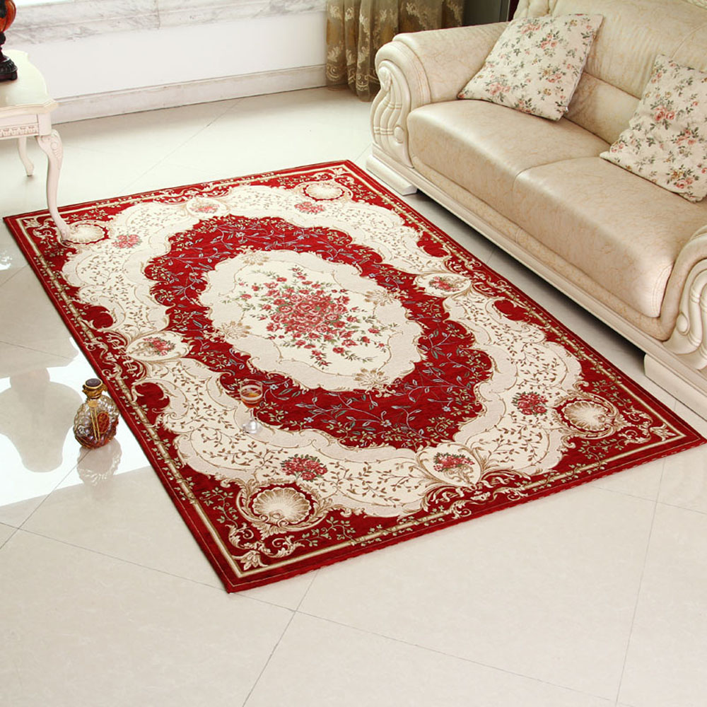 1pcs Keyama European Non Slip Thicken Rectangle Living Room Decorative Floral Area Rugs
