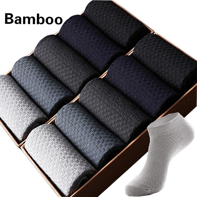 10 Pairs/Lot Men's Bamboo Fiber   Socks   Short Business Ankle Black Male Meias   Socks   Breathable Men Dress Shoes Clothes Size38-43