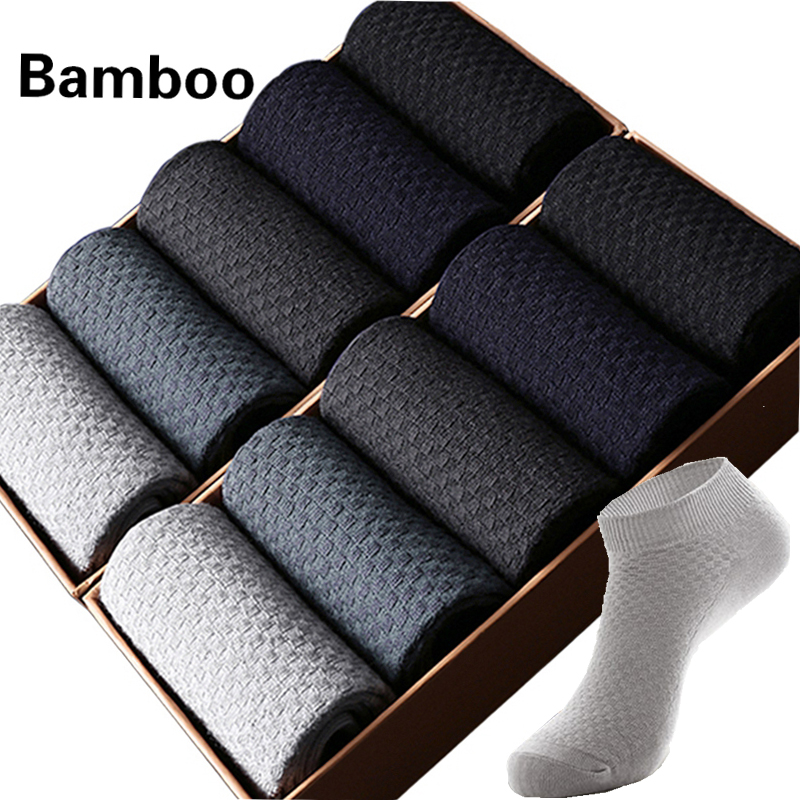 10 Pairs/Lot Men's Bamboo Short   Socks   Invisible Ankle Black Male   Socks   And Shoes Go well With Clothes Dress Gift 2019 Size38-43