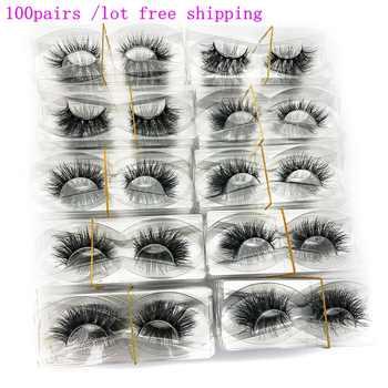Mikiwi großhandel 100 paare/pack 3D Nerz Wimpern Keine verpackung Voller Streifen Wimpern Nerz Falsche Wimpern custom box Make-Up wimpern