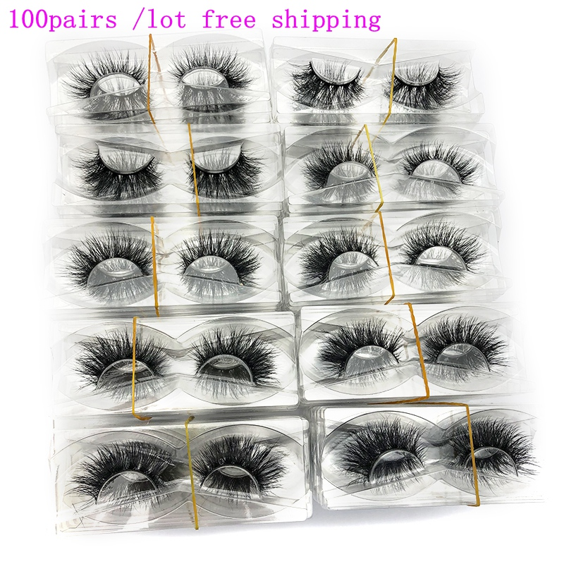 Mikiwi Wholesale 100 Pairs/pack 3D Mink Lashes No Packaging Full Strip Lashes Mink False Eyelashes Custom Box Makeup Eyelashes