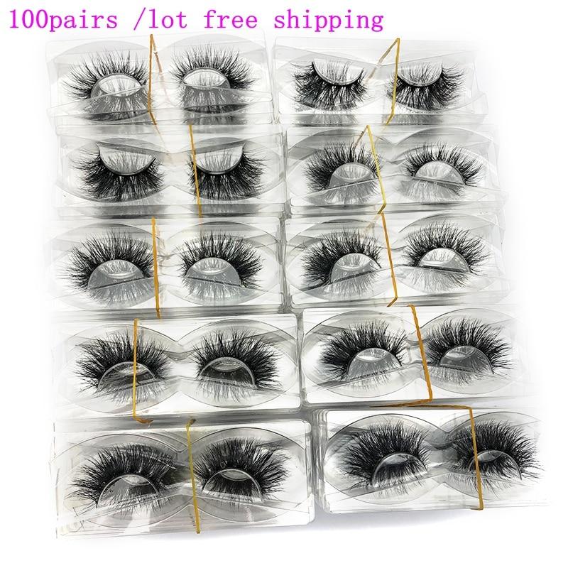 Mikiwi Wholesale 100 Pairs/pack 3D Mink Lashes No Packaging Full Strip Lashes Mink False Eyelashes Custom Box Makeup Eyelashes