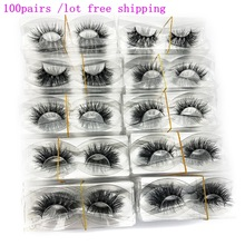 Lashes Mink Custom-Box No-Packaging Mikiwi Wholesale 100-Pairs/Pack 3D Full-Strip